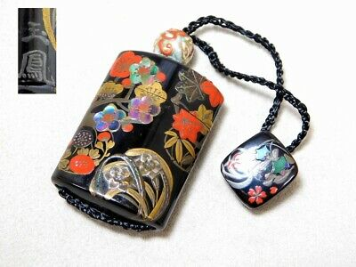 SIGNED INRO Shell & Makie Lacquered NETSUKE 19C Japanese Meiji Original Antique