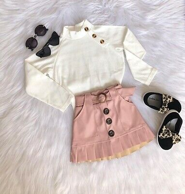 Toddler Kids Baby Girl Clothes Tops Sweater Ruffle Skirts Mini Dress Outfits Set