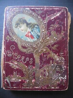 Victorian Scrapbook Album With Hundreds Of Colorful Scraps, Cutouts, Cards