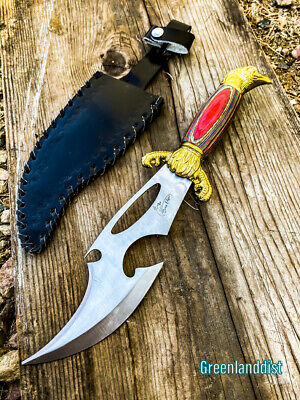 "12.5"" Fantasy Blade Eagle Rainbow Handle Hunting Knife with Leather Sheath Surv"