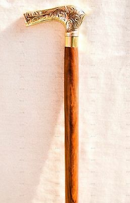 Antique Style Brass Vintage Style Wooden Walking Cane Victorian Brown New Gift
