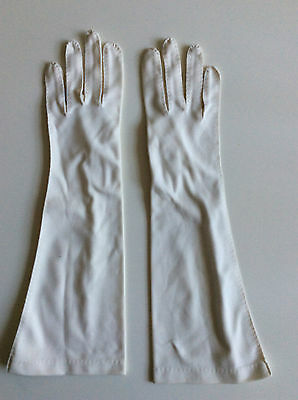 Vintage Beige Fabric Below Elbow Length Ladies  Gloves No:2