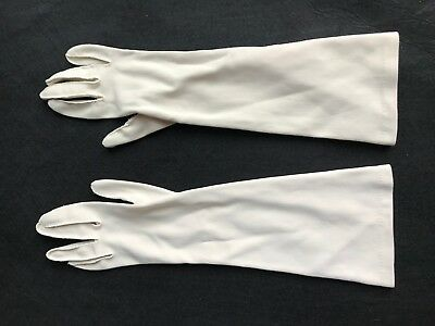 Vintage Beige Fabric Below Elbow Length Ladies  Gloves