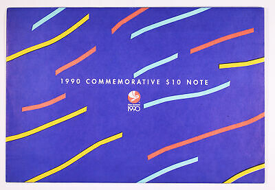 1990 New Zealand Commemorative $10 Gem UNC Banknote Folder D11-1348
