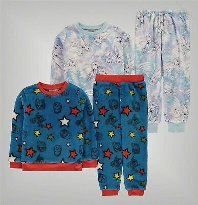 Boys Girls Character Fleece Printed Snug Pyjama Set Sizes Age from 3 to 12 Yrs