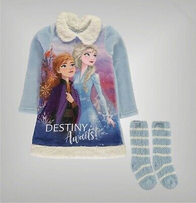 Girls Character Full Fleece Nightie and Sock Set Sizes Age from 3 to 8 Yrs