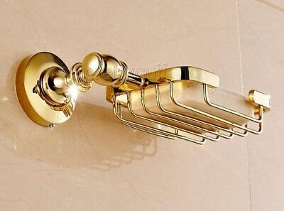 Luxury Gold Color Brass Wall Mounted Bathroom Wire Soap Dish Holder Pba162