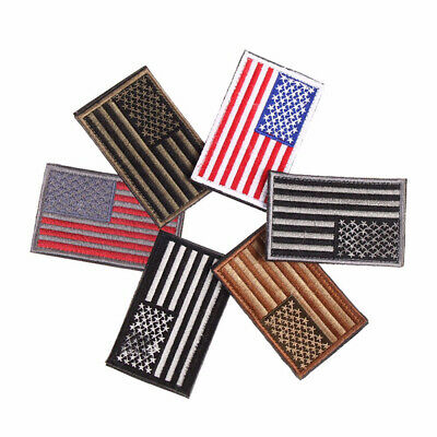 DIY Embroidered American Flag Patch Appliques USA Military Tactics  Iron-On Sew