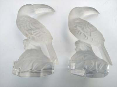 Pair Rare Vintage Goebel Crystal Toucan Crystal Glass Antique Statue 2 Piece