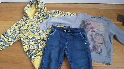 boys clothes bundle 4-5 years..Next, George, Despicable Me, Minion hoodie, top