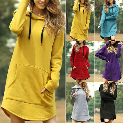 Women Hooded Sweatshirt Hoodie Short Jumper Long Sleeve Pullover Top Solid Loose
