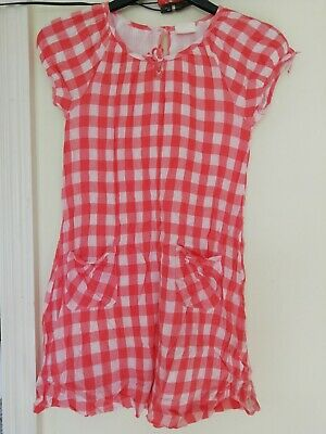 Girls Red Checked Short Sleeved Dress MINI BODEN Age 11-12 Years 100% Cotton