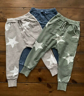 Girls Harem Joggers Age 4 -5 Years BUNDLE Grey Khaki Blue Star Pattern