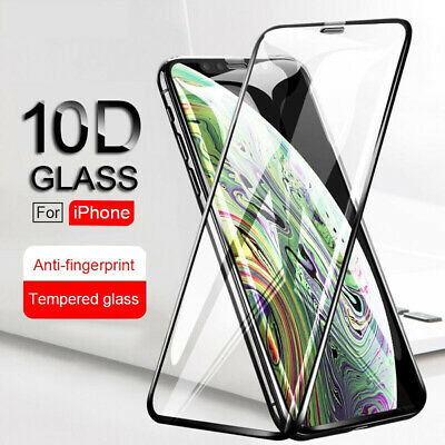 For iPhone 11 Pro X XS MAX XR 7 8 10D Full Cover Tempered Glass Screen Protector