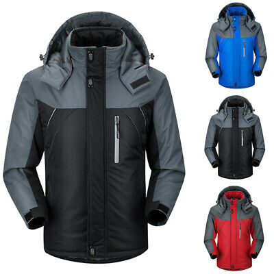 Men's Winter Warm Ski Jacket Snow Hiking Thick Hooded Waterproof Coat Outwear LM