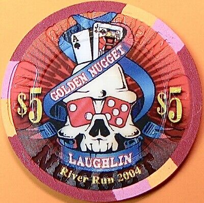 $5 Casino Chip. Golden Nugget, Laughlin, NV. River Run 2004. O08.