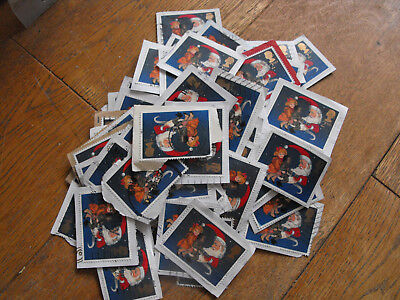 100 x 2nd Class Xmas GB Stamps Father Christmas + 2 Kids Used & Franked on Paper
