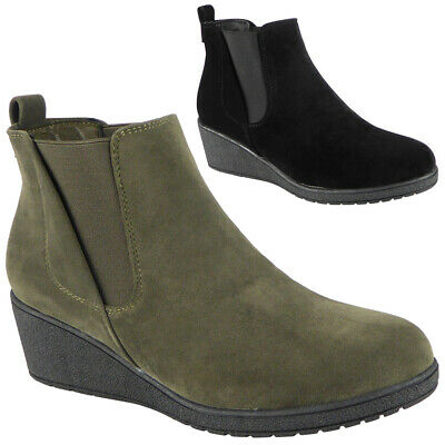 Womens Wedge Boots Ladies Comfy Work Chelsea Ankle Mid Heel Casual  Shoes Size