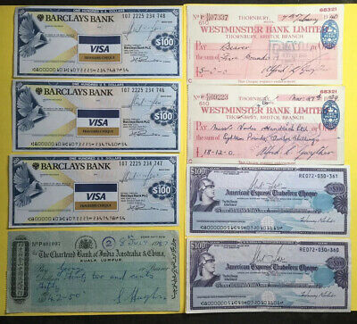 Job Lot X8 Cheques Travelers Cheque Banknotes   #A22