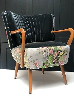 Mid Century Vintage German Cocktail Armchair Recovered In Designer Fabrics
