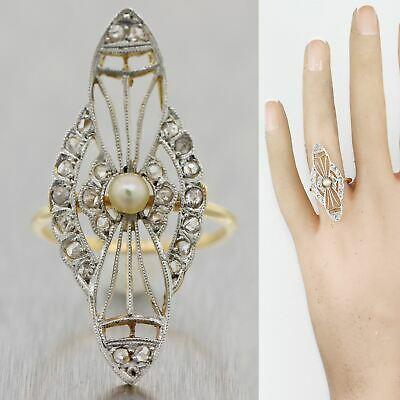 1920's Antique Art Deco Platinum & 14k Yellow Gold Diamond & Pearl Ring