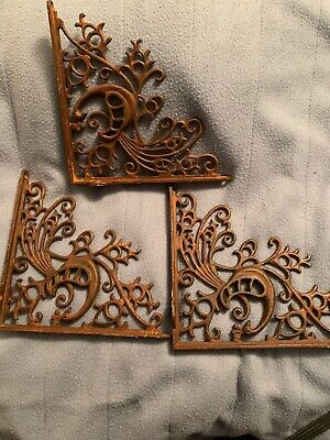 Set Of 3 Cast Iron Gingerbread Brace Shelf Brackets Antique Brown Patina  Finish