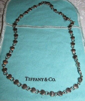 "Tiffany & Co CHAIN OF HEARTS NECKLACE Sterling Silver 16"" Paloma Retired BagBox"
