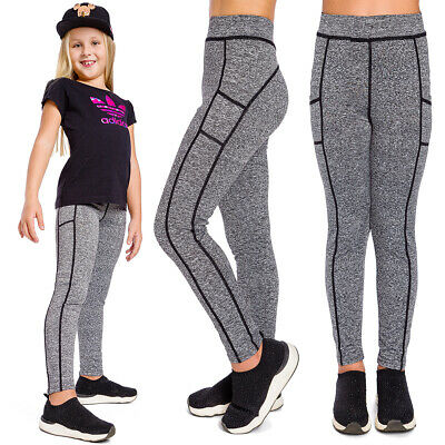 Girls Sports Solid Leggings Striped Elastic Kids Pants School Trousers FS7131