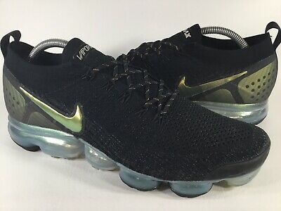 Nike Air Vapormax Flyknit 2 Black Gold Metallic Mens Size 10.5 Rare 942842-015