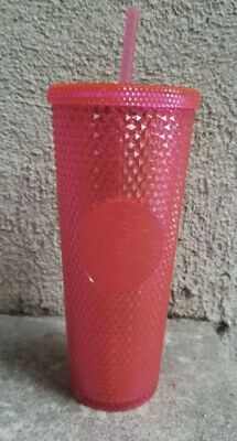 NEW STARBUCKS 2019 Neon Pink Studded Cold Cup Tumbler Christmas HOLIDAY In Hand