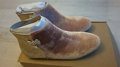 Girls Monsoon Pink Suede Glitter Boots Bow Bnib Size Uk 4