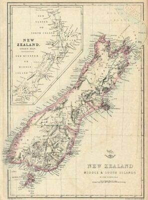 'New Zealand Middle & South Islands'. Shows 1859 provinces. DOWER 1863 old map