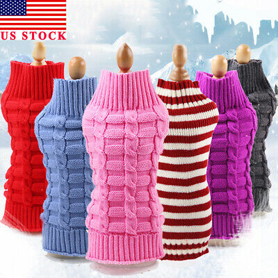US Small Dog Knit Jacket Sweater Pet Cat Puppy Coat Clothes Warm Costume Apparel