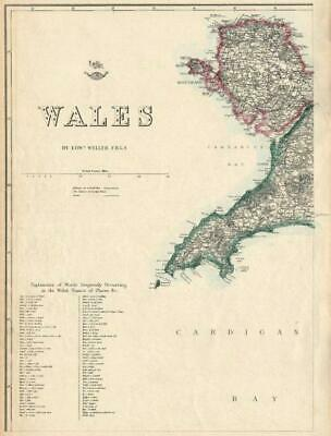 WALES NORTH WEST Anglesey Lleyn/Llyn Peninsula Welsh placenames WELLER 1863 map