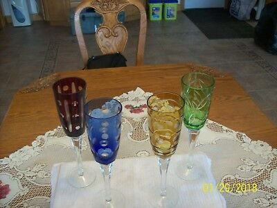 Bohemian Tall Fluted Cut Glass Crystal Long Stemmed Colored Vtg. 4 Wine Glasses