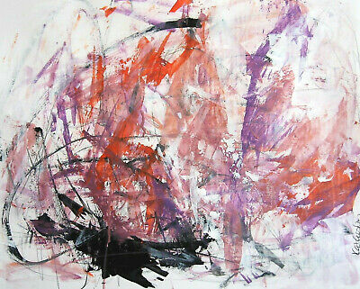 Pink Original Art Modern abstract Expressionism Painting acrylic paper 18x24