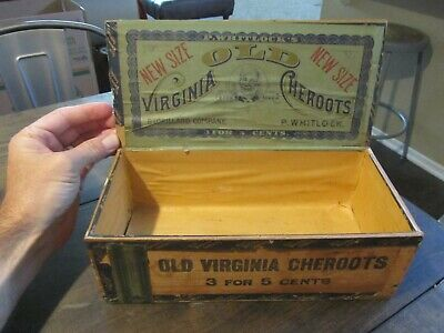 Old Virginia Cheroots Cigar Box Antique c1910 P. Whitlock's Wood Store Display