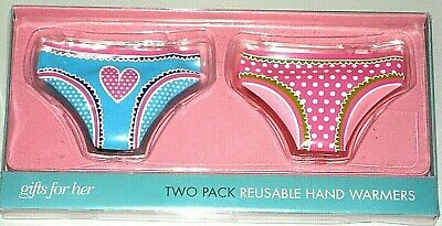 2 x Girl Hot Pants Reusable Hand Warmers Novelty Pocket Size Knickers Heat Pads
