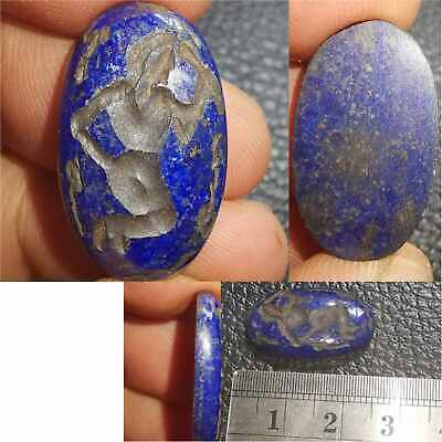 Old Beautiful  Lapis intaglio Sword Fighter Near Eastern Stone  # 43