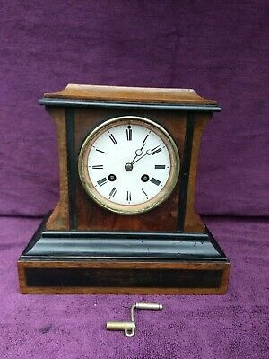 Vintage Antique French Japy Freres Fils Ebony Victorian Mantel Clock c1855