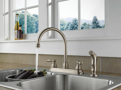 NEW - Peerless P299575LF-SS Two Lever Handle Kitchen Sink Faucet STAINLESS STEEL