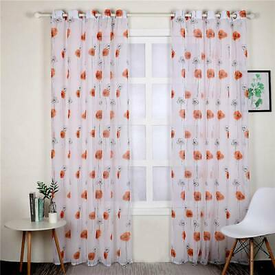 Lotus Leaf Floral Print Eyelet Ring Top Voile Curtain Net Panel Slot Curtain CB