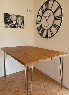 Industrial Scaffold Board RUSTIC DINING TABLE Hairpin Legs Solid Wood DESK ✅