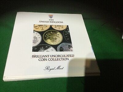 1989 Uncirculated UK coin set BU 7-coin Royal Mint pack large 10p and large 50p