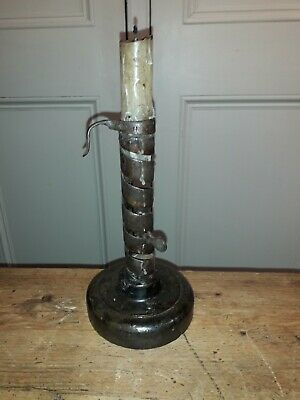 "18Th Century ""Rat Tailed"" Wrought Iron Spiral Candlestick"