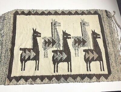 Vintage Woven Tapestry Peruvian Llama Horse Wall Hanging Animal Unique
