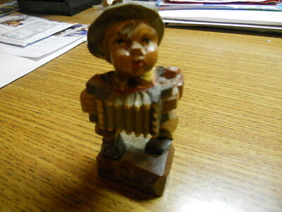 Antique  Hand Carved & Painted  Wood Figure of Acordian Musician