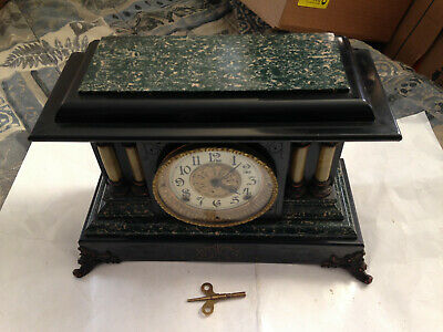 Antique Seth Thomas Green & Black Adamantine Mantle Clock Lions Heads Works!