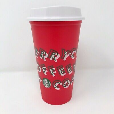 Starbucks Holiday Christmas 2019 Reusable Grande Hot Cup Red Merry Coffee 16 oz