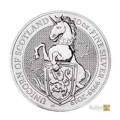 2019 10 oz Queen's Beasts Unicorn of Scotland Silver Coin in Coin Capsule